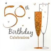 50th Birthday Gold Party Invitations with Envelopes 6pk