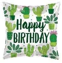 "Happy Birthday Cactus 18"" Square Foil Balloon"