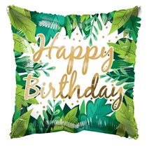 "ECO ONE - Happy Birthday Foliage 18"" Square Foil Balloon"
