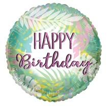 "ECO ONE - Happy Birthday Pastel Leaves 18"" Foil Balloon"