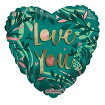 """ECO ONE - Green Love You Heart 18"""" Foil Balloon"""