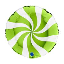 "Grabo Lime Green Candy Swirl 18"" Foil Balloon"