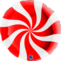 """Christmas Red & White Candy Swirl 36"""" Foil Balloon"""