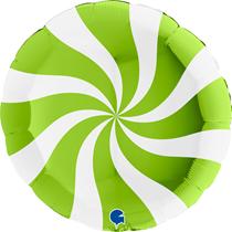 "Lime Green & White Candy Swirl 36"" Foil Balloon"