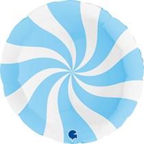 """Swirly Blue & White Matte 36"""" Round Foil Balloon"""