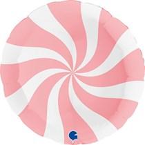 """Swirly Pink & White Matte 36"""" Round Foil Balloon"""