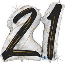 "21st Birthday Black & Gold Marble 34"" Foil Balloon"