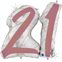 "21st Birthday Rose Gold Marble 34"" Foil Balloon"