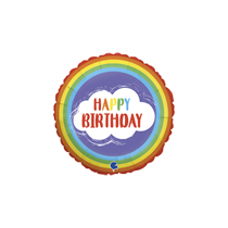 "Happy Birthday 9"" Rainbow Mini Air Fill Foil Balloon"