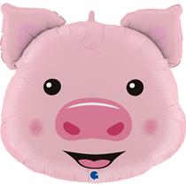 "Smiling Pig Head 30"" Foil Balloon"