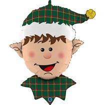 "Christmas Tartan Elf Head 32"" Foil Balloon"