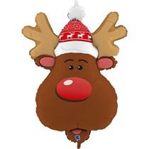 "Christmas Smiling Reindeer Head 34"" Foil Balloon"