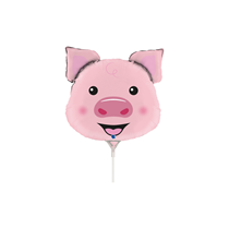 "Pig Animal Head 14"" Mini Shape Foil Balloon"
