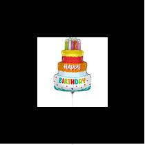 "Happy Birthday Cake 14"" Mini Foil Balloon"