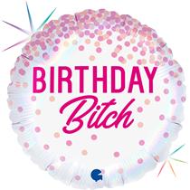 """Birthday B*tch Pink Confetti Holo 18"""" Foil Balloon"""
