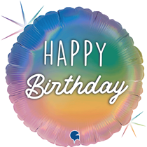 "Happy Birthday Rainbow Holographic 18"" Foil Balloon"