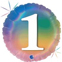 "1st Birthday Rainbow Holographic 18"" Foil Balloon"