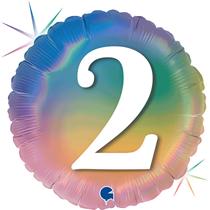 "2nd Birthday Rainbow Holographic 18"" Foil Balloon"