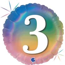 "3rd Birthday Rainbow Holographic 18"" Foil Balloon"