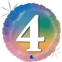 "4th Birthday Rainbow Holographic 18"" Foil Balloon"