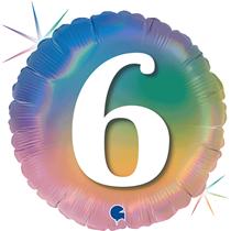 "6th Birthday Rainbow Holographic 18"" Foil Balloon"