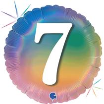 "7th Birthday Rainbow Holographic 18"" Foil Balloon"