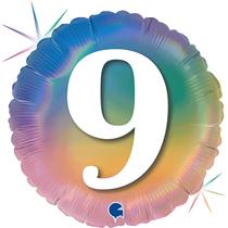 "9th Birthday Rainbow Holographic 18"" Foil Balloon"