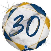 "30th Birthday Blue & Gold Marble 18"" Foil Balloon"