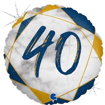 "40th Birthday Blue & Gold Marble 18"" Foil Balloon"