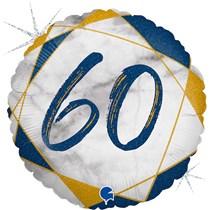 "60th Birthday Blue & Gold Marble 18"" Foil Balloon"