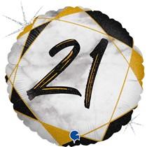 "21st Birthday Black & Gold Marble 18"" Foil Balloon"