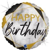 "Happy Birthday Black & Gold Marble 18"" Foil Balloon"
