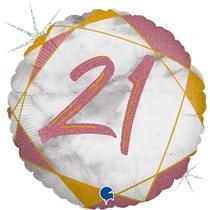 "21st Birthday Rose Gold Marble 18"" Foil Balloon"