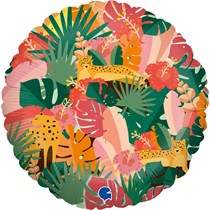 """Tropical Jungle Leaves & Animals 18"""" Foil Balloon"""