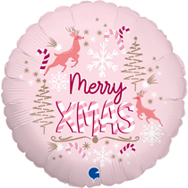 "Pink Merry Xmas 18"" Foil Balloon"