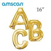"""Gold 16"""" Minishape Foil Letter Balloons"""