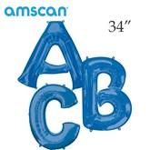 "Blue 34"" Supershape Foil Letter Balloons"