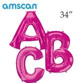 """Pink 34"""" Supershape Foil Letter Balloons"""