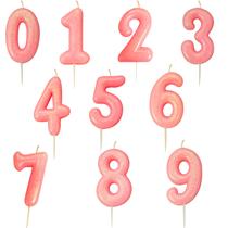 Pink Glitter Moulded Pick Number 0-9 Candles 7cm