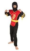 Red & Black Children's Ninja Costume Ages 4 - 12