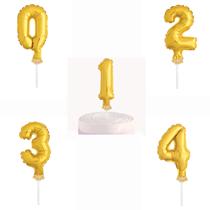"Gold Foil Number Cake Topper 5"" Balloons"