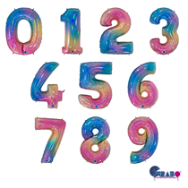 """Giant Colourful Rainbow 40"""" Foil Number Balloons"""