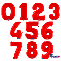 """Grabo Red Fluo 40"""" Number Balloons"""