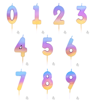 Rainbow Ombre Number Candles 0-9