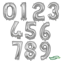 """Oaktree 34"""" Silver Foil Number Balloons"""