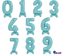 """Grabo Pastel Blue Standup 25"""" Air Fill Number Balloons"""