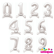 """Unique Party Silver 30"""" Standing Number Balloons"""