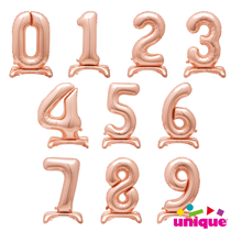 """Unique Party Rose Gold 30"""" Standing Number Balloons"""