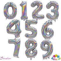 "Sensations Silver Iridescent 30"" Foil Number Balloons"