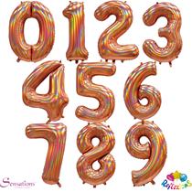 "Sensations Rose Gold Iridescent 30"" Foil Number Balloons"
